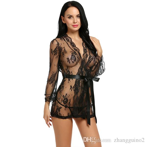 Sex Lingerie Robe Dress Women Lingerie Sexy Hot Erotic Plus Size Nightwear Sex Costumes Kimono Bathrobe Dressing Gown