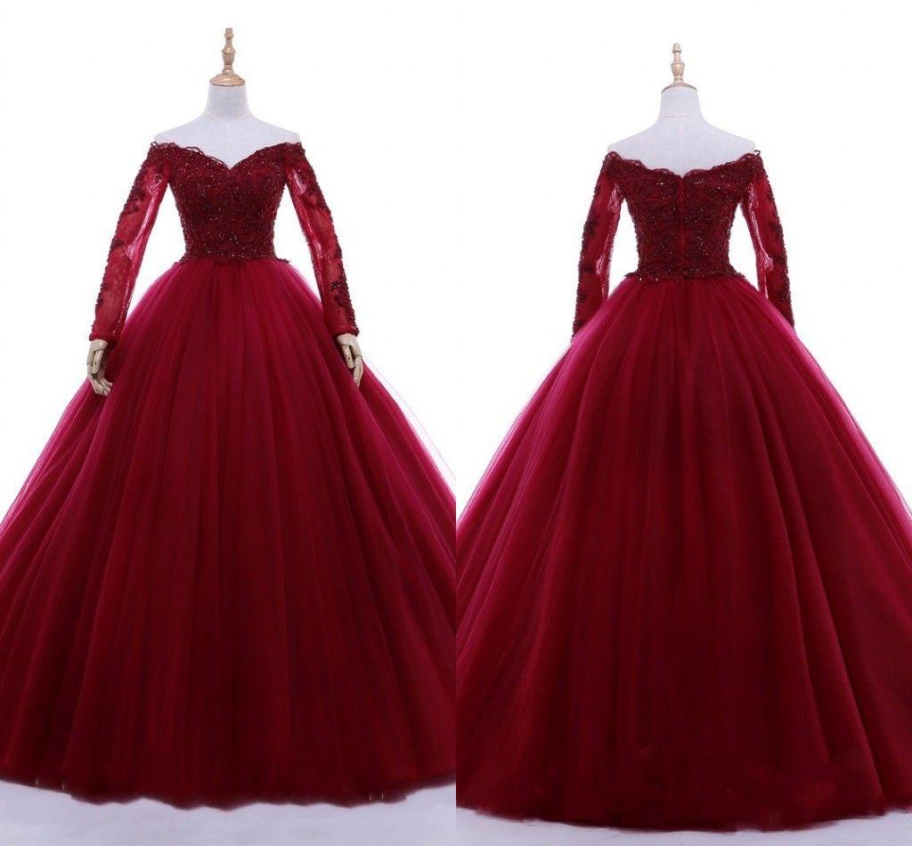 Großhandel 12 Wein Rote Ballkleider Abendkleid Für Süße 12 Aus Der  Schulter Illusion Langarm Spitze Perlen Pailletten Graduierung Kleid  Formale