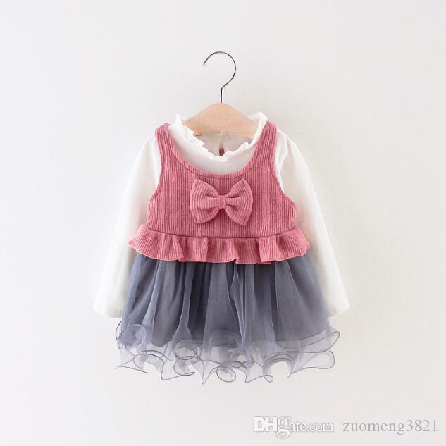 Le ragazze vestono la maglia della maglia del bambino della maglia del bambino della principessa del vestito della principessa dei due pezzi 2018 dei bambini