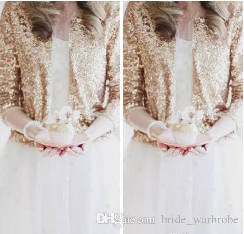 Bling Bling Sequins Long Sleeve Rose Gold Sequined Bridal Jackets 2018 Shrug Formal High Quality Wedding Coats Boleros Wedding Accessories
