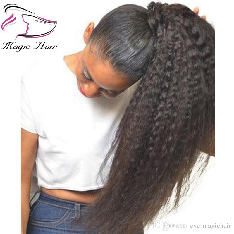 머리카락 연장에 브라질색 인간의 머리카락 Drawstring 포니 테일 클립 변태 자연 색상 레미 퍼프 포니 테일 제품 Evermagic