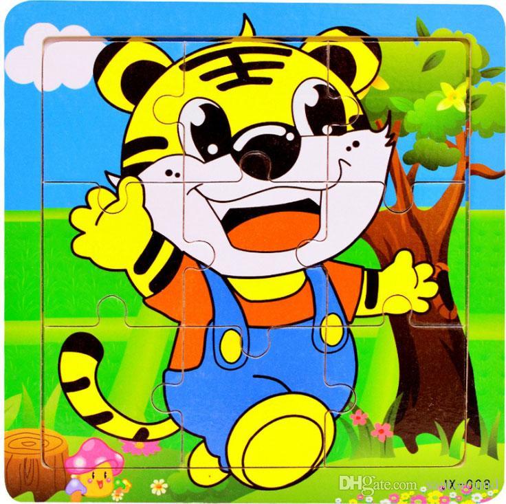 어린이 교육 지그 소 퍼즐 장난감 9 조각 나무 동물 퍼즐 아기 장난감 호랑이 사자 곰 덕 보트 비행기 15 * 15 * 0.6cm