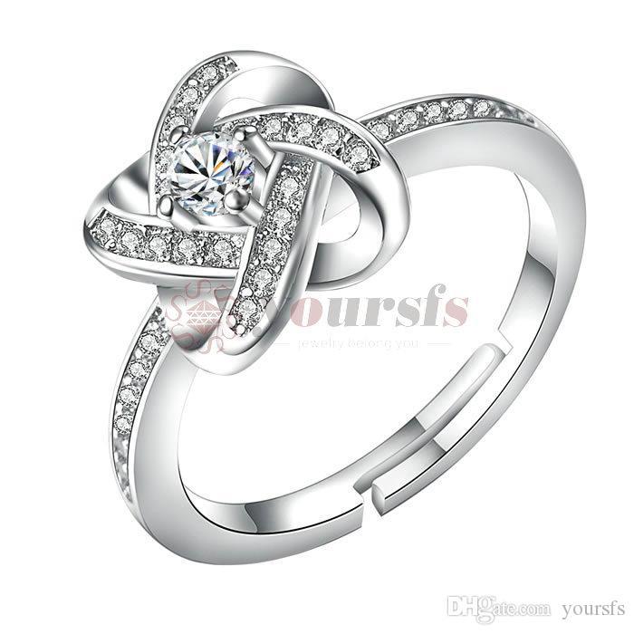 Nuovo Arrivo in Vendita a Caldo Spedizione Gratuita in Oro Bianco 18K Placcato Strass Gioielli Da 3,5 Ct Diamante Simulato di Fidanzamento di Nozze Anello di R181W1
