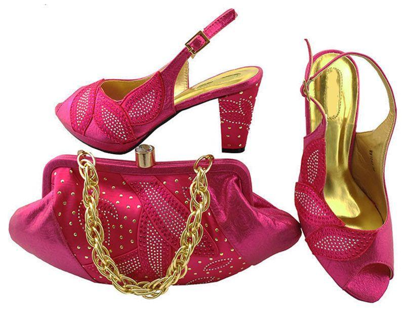 Venda quente fúcsia sapatos combinar sacos com strass série africano senhora sapatos e bolsa conjunto para o vestido MM1043, calcanhar 8 CM