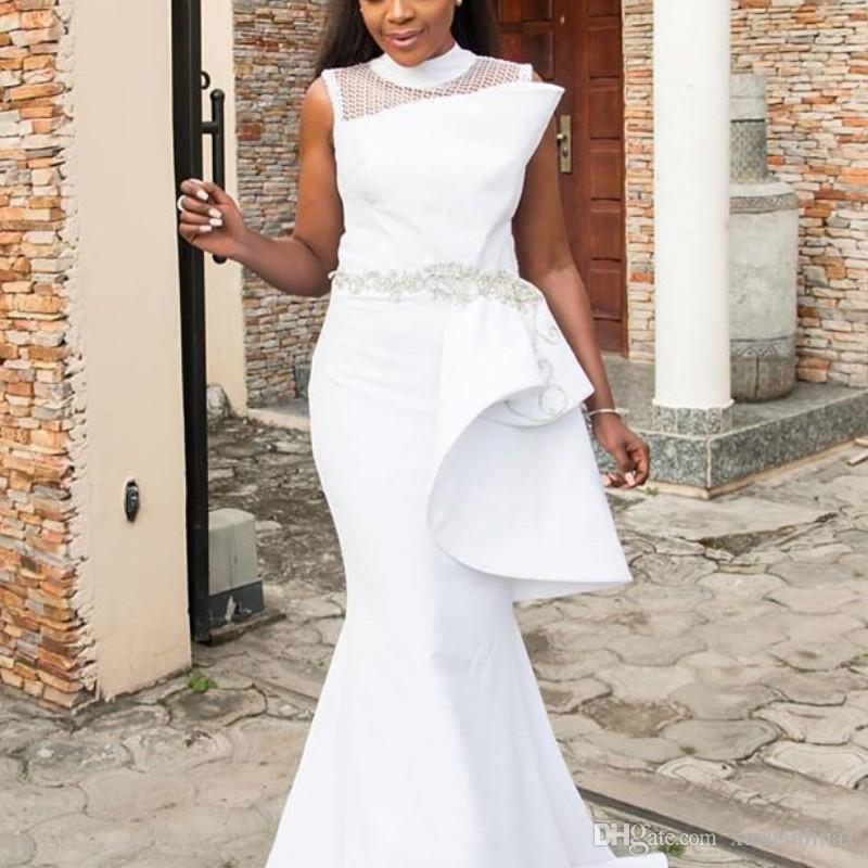 Chic Yüksek Boyun Gelinlik Modelleri Seksi Aplikler Peplum Kolsuz Kat Uzunluk Parti Törenlerinde Moda Afrika Beyaz Saten Uzun Gelinlik Modelleri