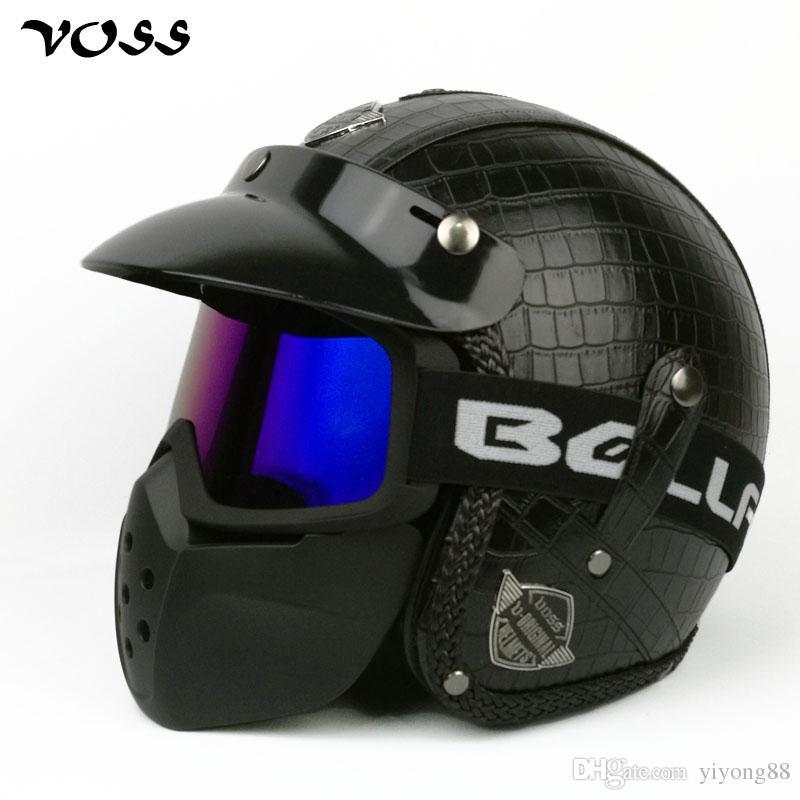 VOSS Faux Leather For Harley Helmets 3/4 Motorcycle Chopper Bike helmet open face vintage moto helmet with goggle mask, V-085B