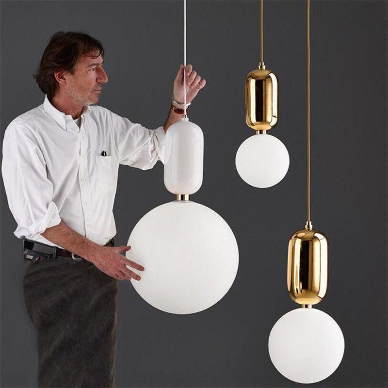 Creativa nórdica simple colgante de luz LED placa de metal Vía esmerilado de cristal redondo pantallas de lámparas de suspensión para Bar Comedor