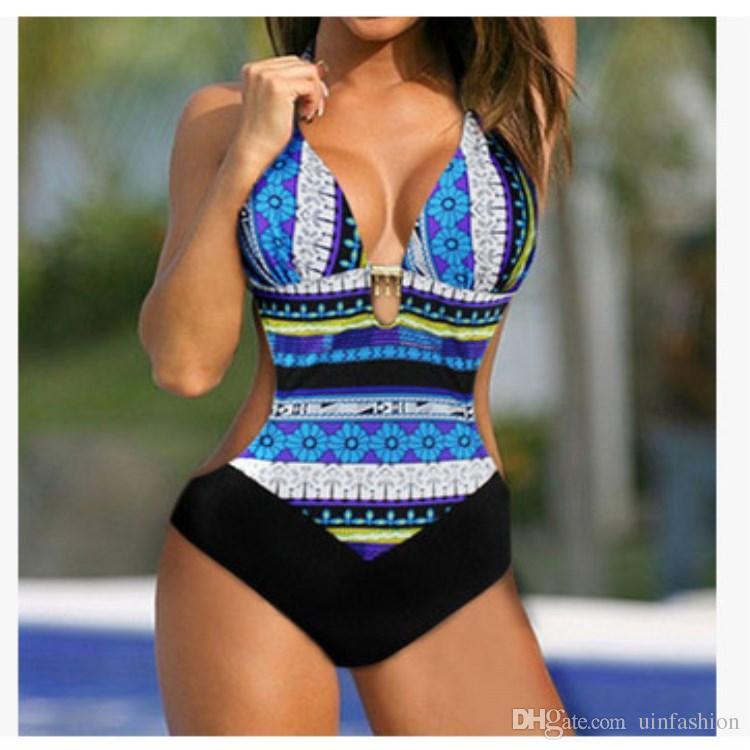 Panie Sexy Brazylijski Bikini Czeski Kobiet Stroje Kąpielowe Kobiety Backless Drukowane Jedno Kawałki Swimsuit Plaża Nosić Biquini