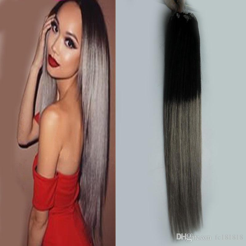 "Ombre 100 gr / paket 10 ""-26"" Remy Loop Micro Ring Haar seidige Gerade 100% Menschenhaarverlängerungskapsel Keratin Perle haar"