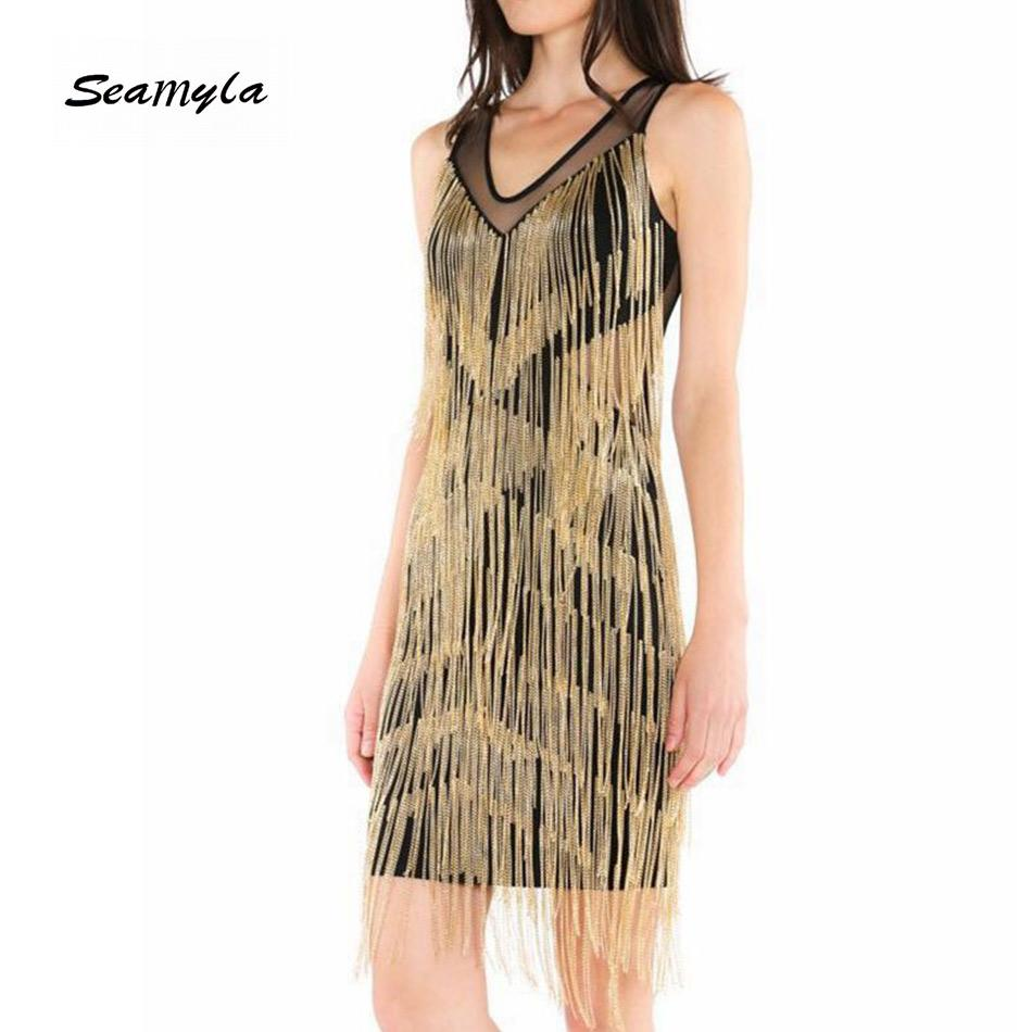 Casual Dresses Seamyla Frauen Verbandkleid Sexy Bodycon Gold Tessals Sommer Clubwear Mini Vestidos Fringe Celebrity Party Großhandel