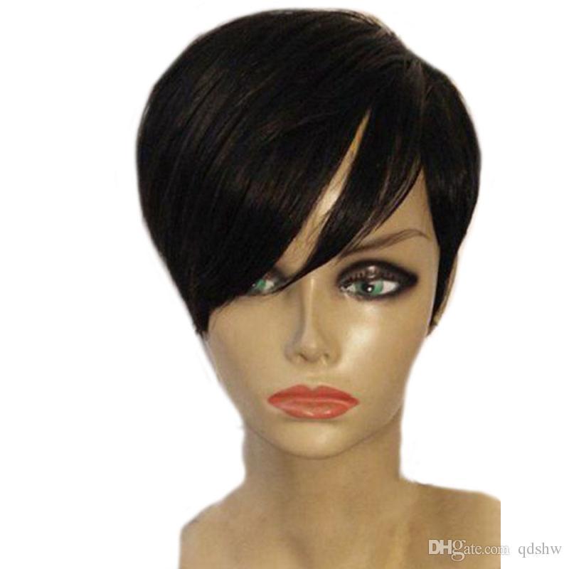 Короткий Человеческого Pixie фронт шнурка волосы парики для женщин Черного Glueless Короткого Боба монолитного парик с волосами младенца