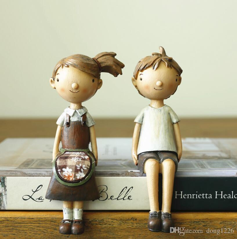 Nordic creative resin cute dolls figurine dolls for girls boy birthday present home decor crafts room decoration resin statue
