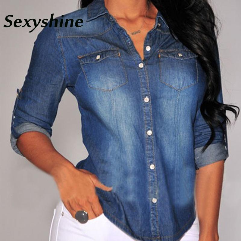 Denim bluzlar kadınlar Yaka Düğmesi Mavi Aşağı uzun kollu slim fit rahat moda bahar sonbahar kadın Klasik kot gömlek tops