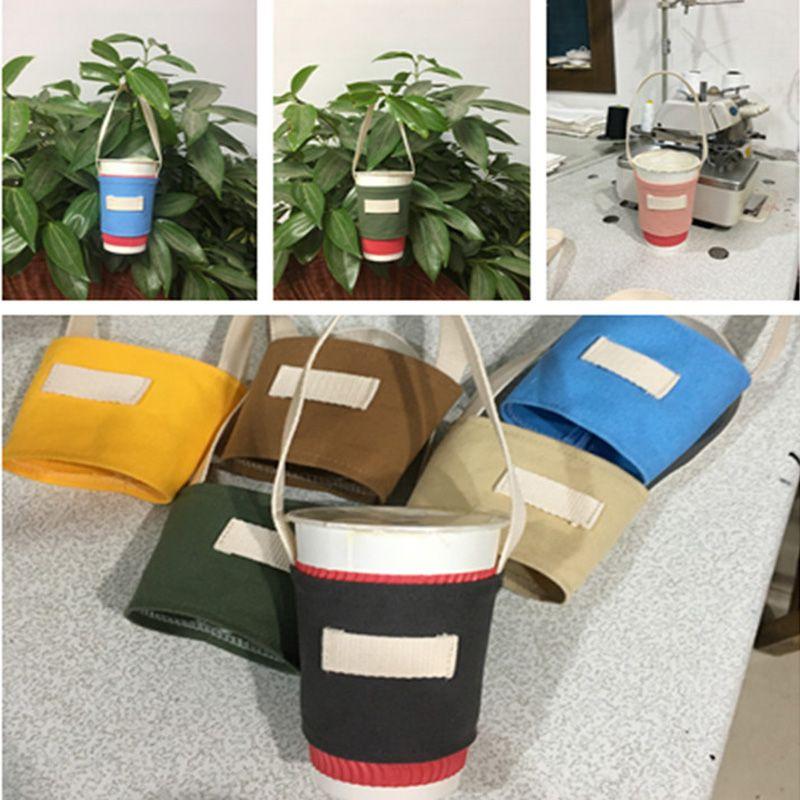 Colorful canvas cup bag handmade canvas cup pouch hand milk tea cup bag Factory wholesale LX0374