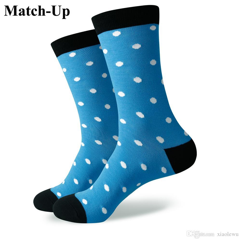 Chaussettes pour hommes de marque en coton peigné de 2016 pour hommes, chaussettes tout-aller à pois colorés, taille US (7.5-12) 346