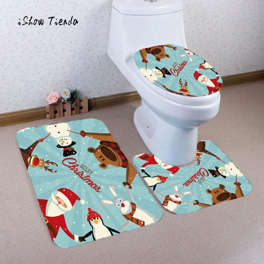 Stampa bagno 3PCS Tappetino antiscivolo per bagno di Natale Coperchio per WC Coprimaterasso Set tappetino da bagno Tappetini per decorazioni natalizie