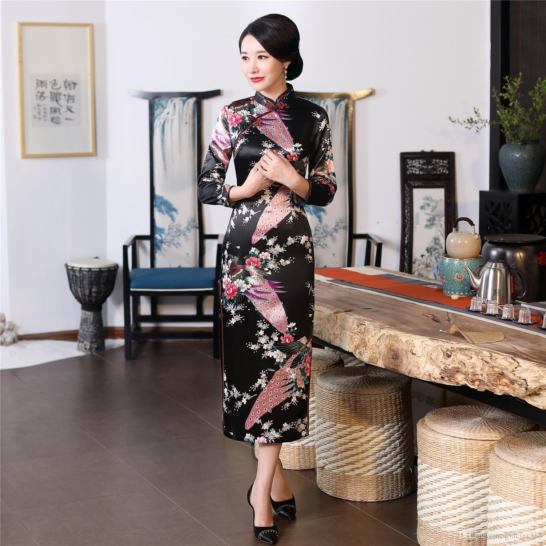 Shanghai Story Long Qipao Peacock Cheongsam Chinese Traditional Dress Long Sleeve Faux Silk long Chinese Dress