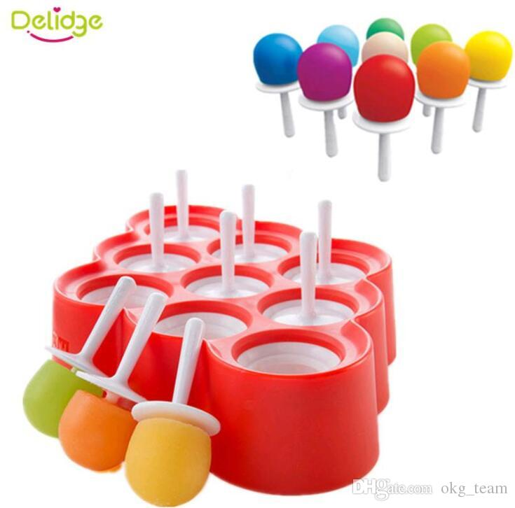 Designs 9 Holes Round Ball Ice Mold plastic Lip Shape Tube Maker Mold Rectangle Bar Drink Silicone Ice Pops Mold Ice Cream Ball