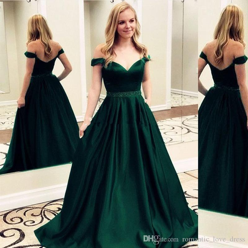 Off-the-shoulder Green Prom Dresses 2019 New Design Custom Simple Style Sweep Train Beads Sash A-Line Satin Formal Evening Party Gowns P008