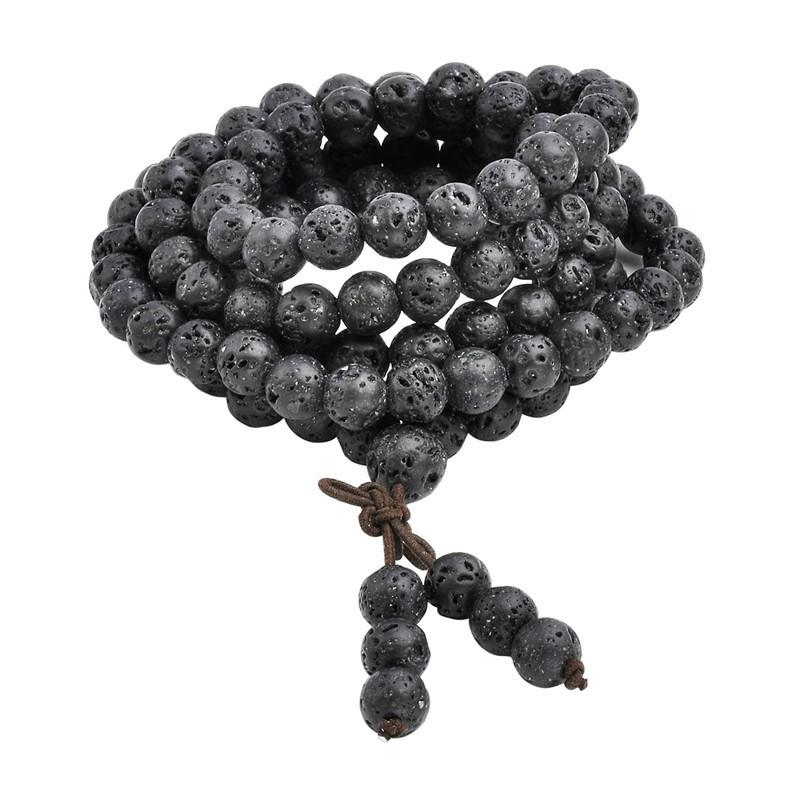 Natural Lava Rock Stone Healing Gem Stone 108 Buddhist Prayer Beads Tibetan Mala Bracelet Necklace