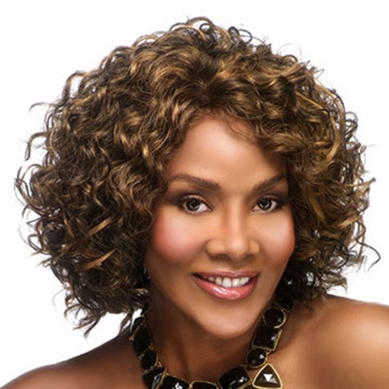 10 inç kadın Kısa Afro Kinky Kıvırcık Peruk Ombre Kahverengi Sarışın Renk Peruk Yüksek Sıcaklık Fiber Sentetik peruk