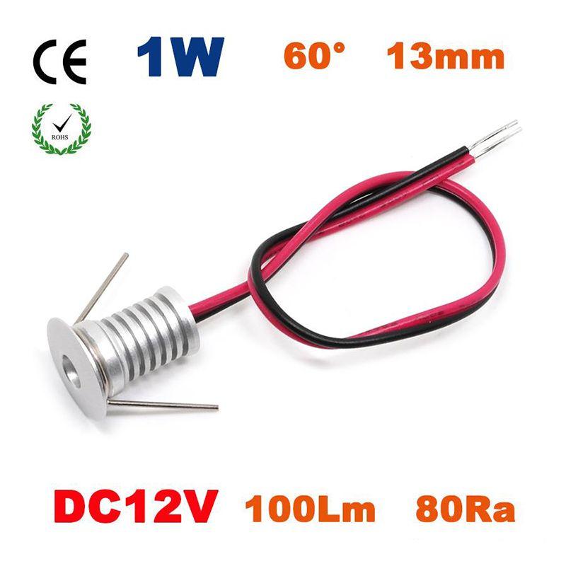 12PCS 1W DC12V 18mm Mini Led Bulb Downlight Lamp 80Ra 100Lm/W 60 Degree Spot Cabinet and Stair Lamp