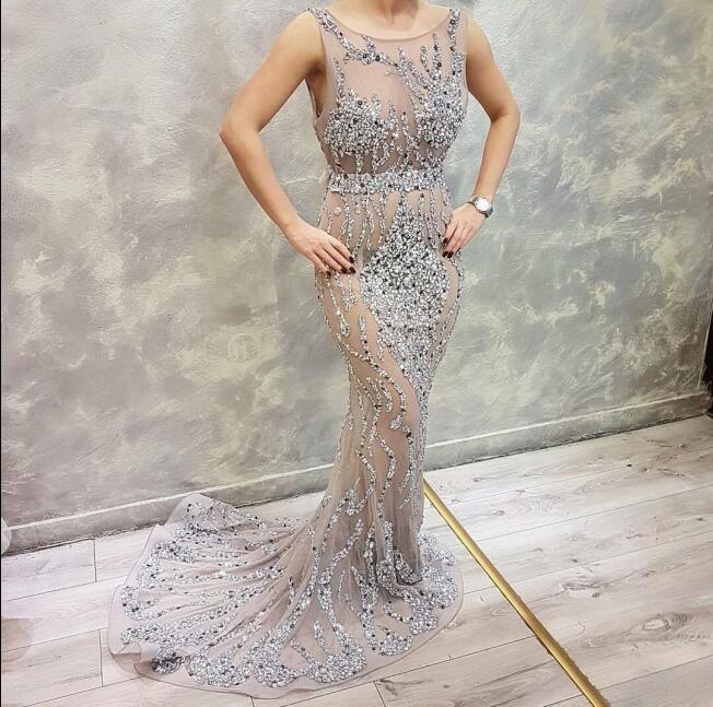 Evening dress Yousef aljasmi Kim kardashian O-Neck Beaded Crystal Mermaid Bodycon dresses Almoda gianninaazar ZuhLair murad Kim Kardashian