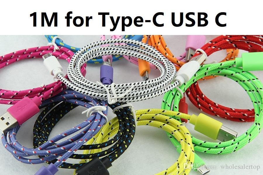 1M 3ft Красочный Новый Ткань Нейлон Плетеного Type-C USB C кабель для Samsung Для Blackberry для оплетки кабеля HTC Ткань Samsung
