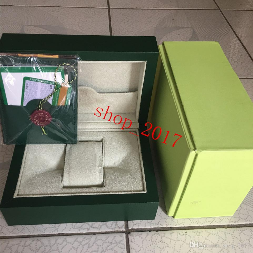 Free shipping Luxury watch Mens For ROLEX Watch Box Original Inner Outer Womans Watches Boxes Men Wristwatch Green box booklet card 889