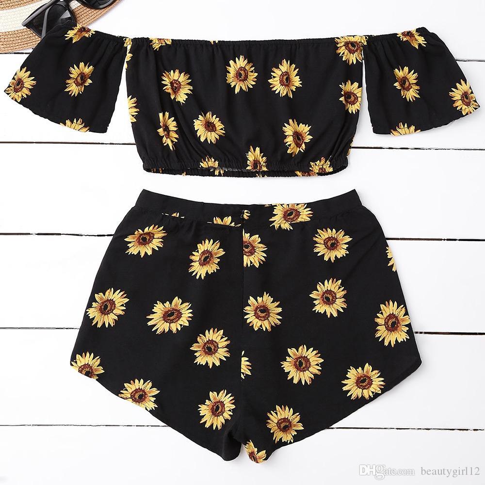 Casual 2 Two Piece Set Women Sunflower Print Summer Off the Shoulder Crop Top Shorts Zipper 2018 Beachwear Women Set