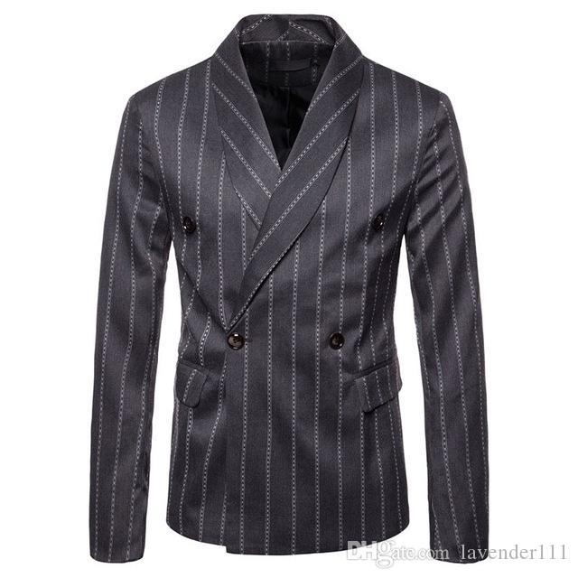 2018 Nuevos Blazers para hombre A rayas de moda casual Chaqueta de traje de algodón Talla grande M a 3XL Blazers para hombre