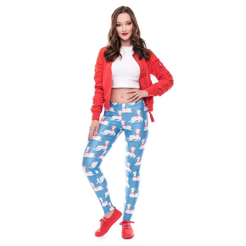 Sky Blue Funk Christmas Slimming Pants Slim Santa Claus Leggings Casual Printing Capris Fashion Xmas Trousers Tights
