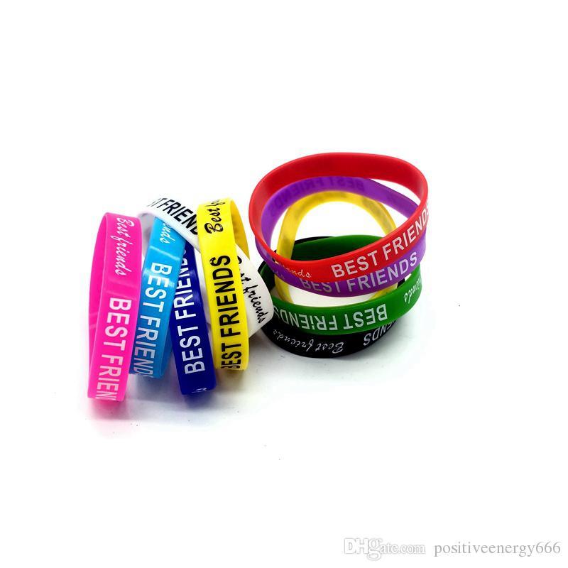 New Fashion Rubber Silicone Bracelet Best Friend Design Sport Elasticity Wristband Men Womens Jewelry Cuff Watch Band Good Quality Gift