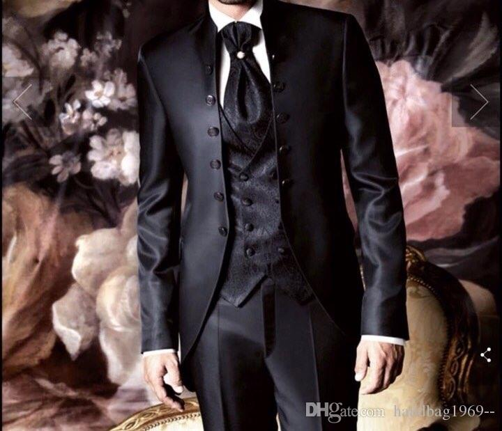 Modische sechs Tasten schwarz Bräutigam Smoking Groomsmen Best Man Blazer Mens Hochzeitsanzüge (Jacke + Hose + Weste + Krawatte) H: 738