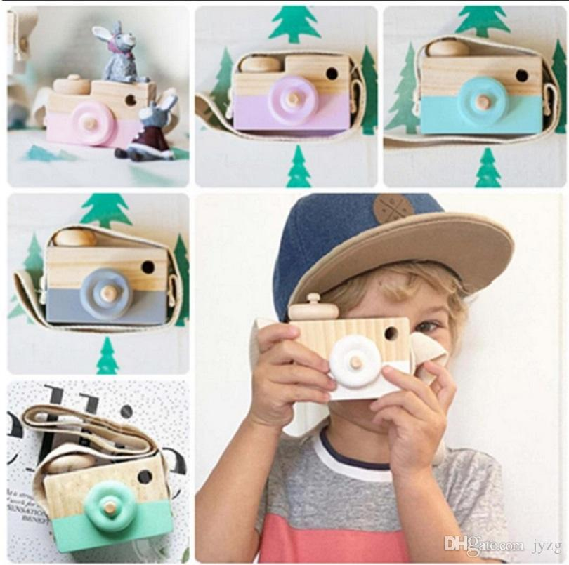 wholesale-Cute Wooden Toy Camera Baby Kids Hanging Camera Photography Prop Decoration Children Educational Toy Birthday Christmas Gifts