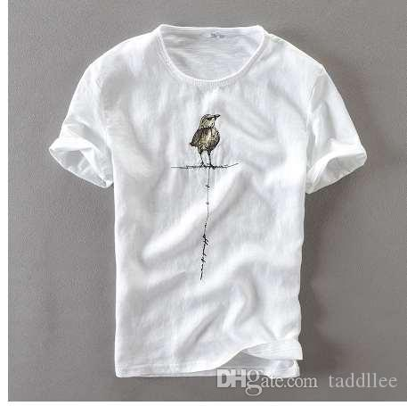 Curto algodão natural t-shirt manga t homens homens casuais criativo linho verão e camisa quiet marca camiseta mens camiseta roupas rqbxm
