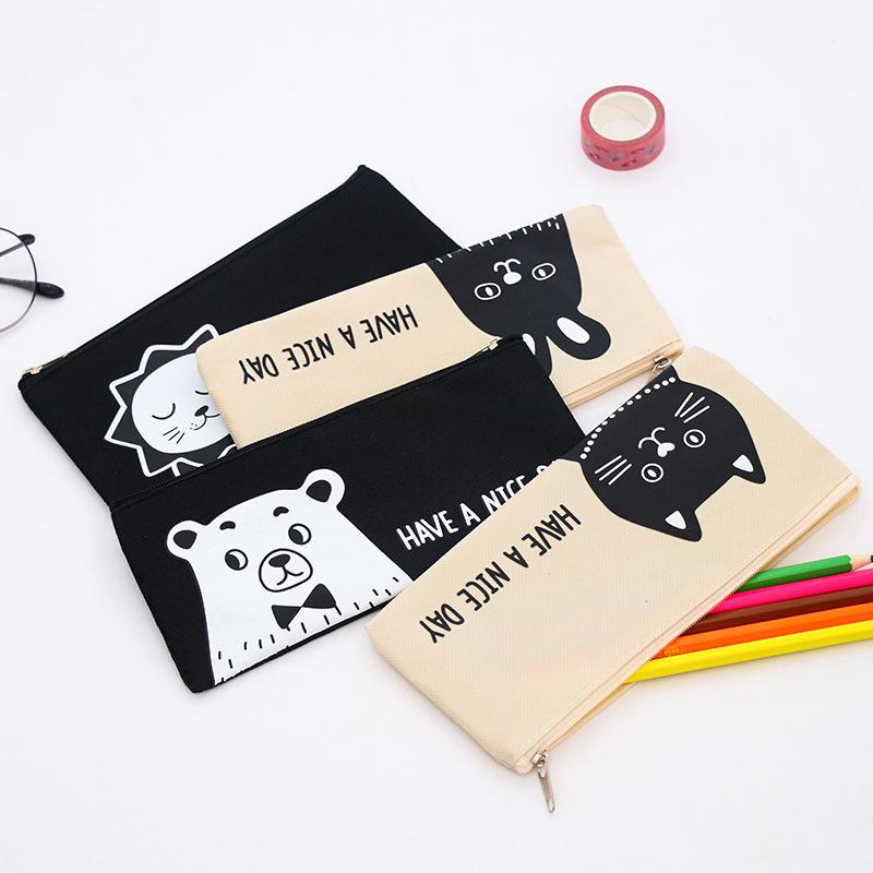 Canvas multifunctional pencil bag South Korea Stationery small lion kitten simple cartoon pen creative canvas zipper pencil case bag