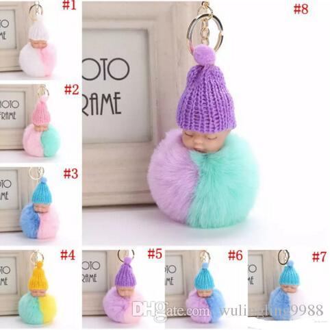 Fluffy Sleeping Baby Doll Key Chain 8cm Knit Hat Keychain Plush Sleep Baby Keychains Faux Rabbit Fur Bag Pom Pom Hat Key Ring Soft Pendant