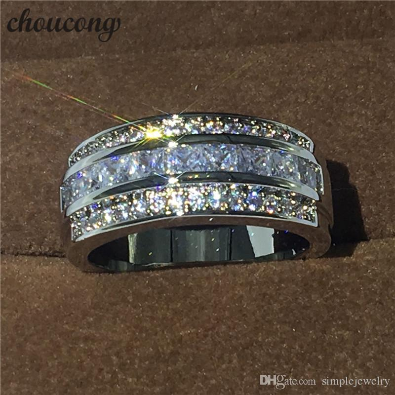 Hot sale Jewelry Male ring 3mm Diamond white gold filled Party Engagement Wedding Band Ring for Men Size 5-11