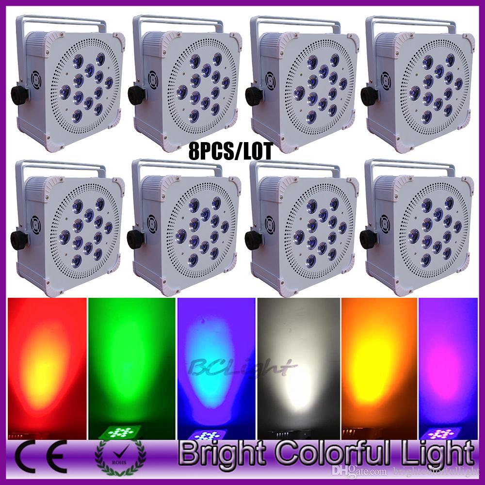 8XLOT 2016 new dj led lights 12 x 18W RGBWAUV wireless battery operated mini led lights DMX battery wireless led uplights