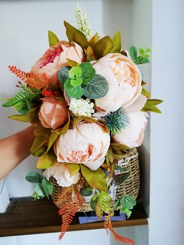 Yeni Güzel Pembe Düğün Buket Tüm El Yapımı Gelin Çiçeği Yapay Ortanca Şakayık Gül Kelebek Broş Buketleri