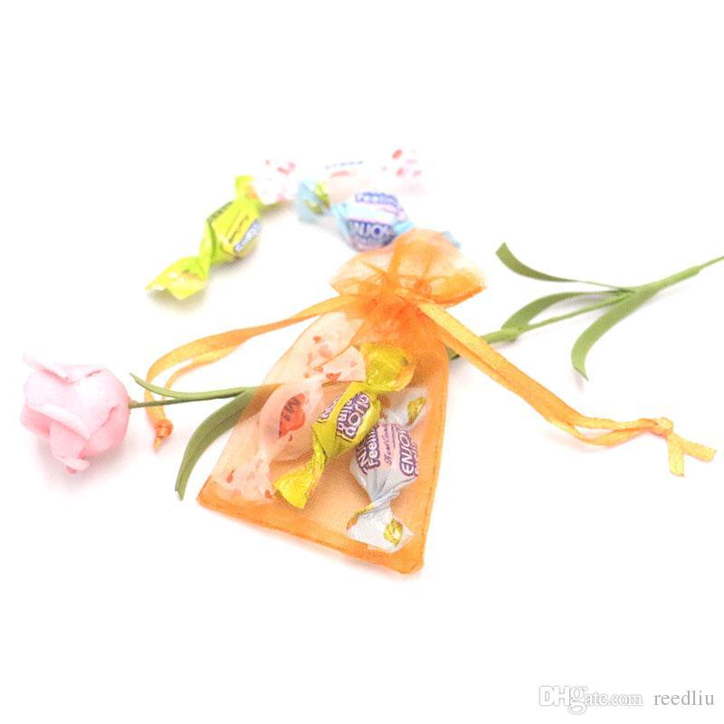 2000pcs / lot joyería al por mayor! 5x7cm Embalaje banquete de boda de PouchesBags colorido decoración bolsas de regalo 100% del Organza de logotipo