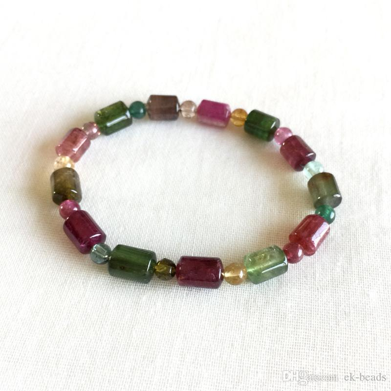High Quality Brazil Natural Genuine Colorful Purple Green Pink Blue Tourmaline Multi-color Bracelet Tube Round beads 7x9mm 05176
