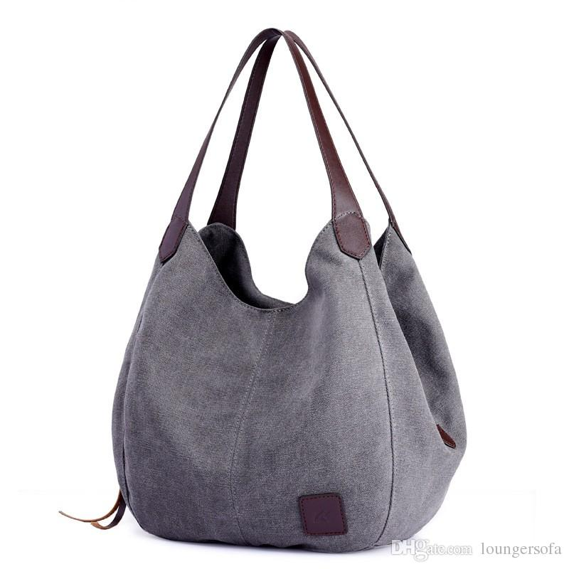Canvas Bag Female Woman Retro Literature Casual Bags Portable Ingle Shoulder Fashion Charm With Zipper Pure Cotton Outdoor 37yk V