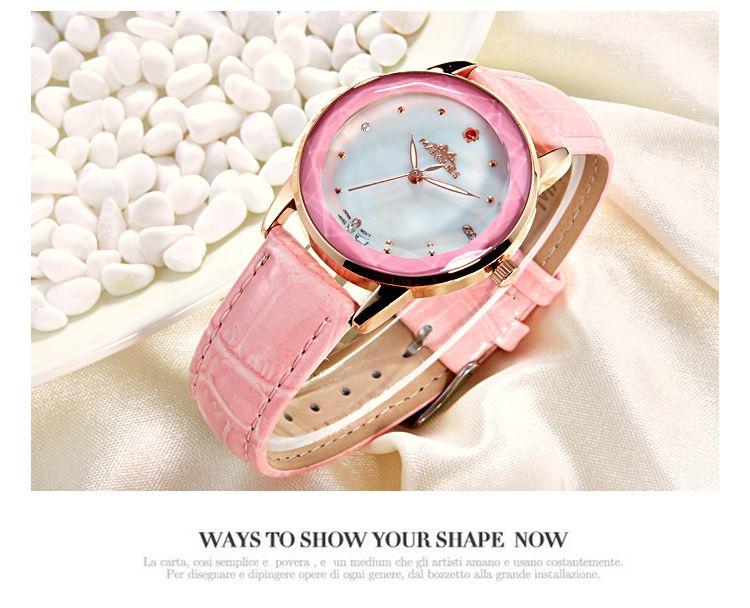 2018 nouvelle marque Margues montre à quartz pour les femmes de la mode fleur de diamant rouge 12 points montres horloge simple bracelet en cuir brillant 028