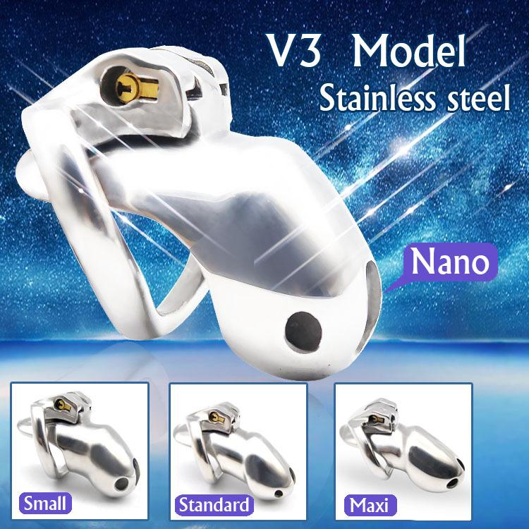 HT V3 Stainless Steel Male Chastity Device Nano/Small/Standard/Max Cage with 1 Penis Rings Adult Sexy Toys