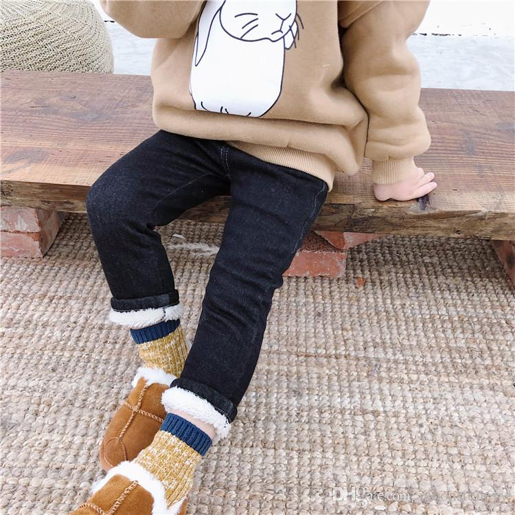 Autumn Winter Boys and Girls Denim Elastic Thickened with Velvet Trousers Children Cowboy Leggings Kids Jeans Pant