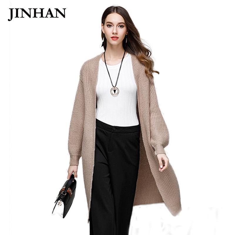 JINHAN Fashion Long Cardigan Swearters Winter Open Stitch Lantern Sleeve Knitwear Cardigans Solid Womens Wool Cardigans JHS877