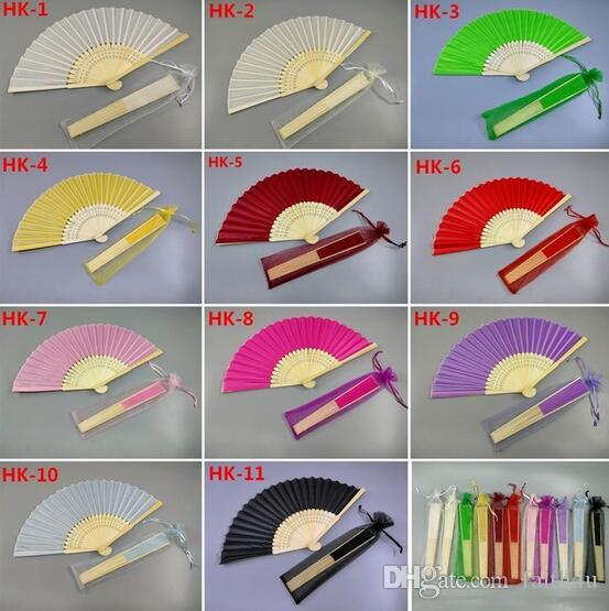 Personalized Engraved Folding Hand Silk Fan Fold Vintage Fans With Organza Gift bag Customized Wedding Party Favors