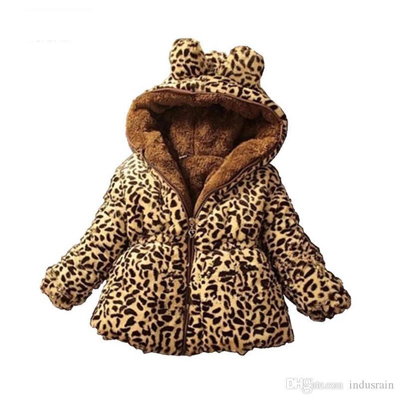 Russo Engrossar Casaco de Inverno Para Meninas Adolescentes Leopardo Veludo de Lã Crianças Meninas Jaqueta de Inverno Crianças Roupas